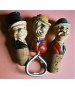 (3) Vintage Figural Bottle Corks & Cap Lifter/Bottle Opener - $24.95
