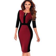 Nice-forever Contrast Patchwork Bodycon Sheath Female Dress B409  - $35.00