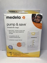 Medela Pump and Save Breastmilk bags 20- 5 oz bags and 2 adapters - $9.89