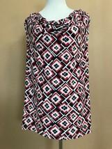 Chaps Plus 1X Blouse Sleeveless Red Blue White - $8.41