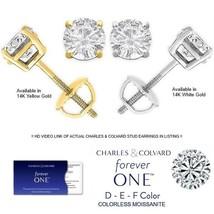 2.20 Carat Moissanite Forever One Stud Earrings in 14K Gold (Charles & Colvard)