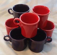 Vintage 8 Fiesta Ware Tom & Jerry Mugs- 4 Retired Scarlet, 4 Plum Purple... - $93.50