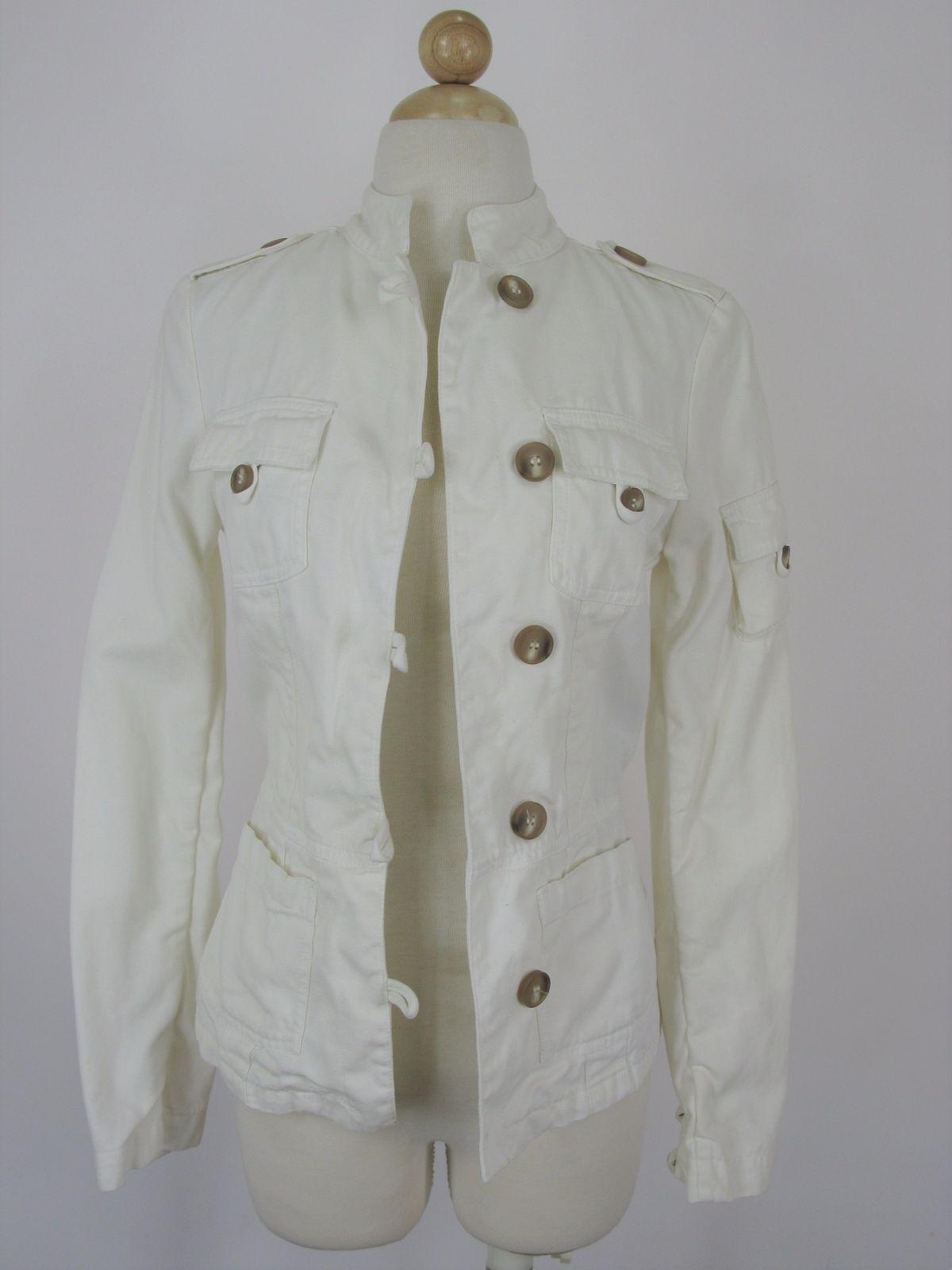 Safari Jacket Cargo Coat Zara Cien Por Cient Cream Cotton Twill  XS/S