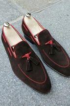 Handmade Men's Dark Brown Suede Slip Ons Loafer Tassel Shoes  image 5