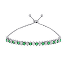1.05 Ct Emerald & White Diamond Sterling Silver Adjustable Tennis Bolo B... - $324.35 CAD