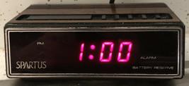 Spartus 1108 Alarm Clock 1980 Red LED Display Battery Backup Retro Vintage - $8.90