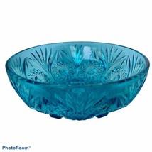 "Vintage Blue Pressed Glass Bowl/Dish Starburst Design Fruit Aqua 9"" - $18.69"