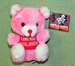 Vintage Russ Luv Pets 1979 Pink Teddy With Tag I Love You So Much Stuffed Animal - $29.70
