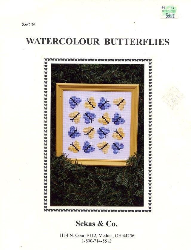 Watercolour Butterflies Sekas Cross Stitch Pattern/Instructions Leaflet - $3.57