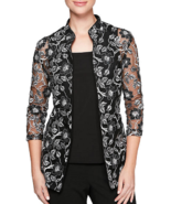 NWT ALEX EVENING BLACK WHITE FLORAL EMBROIDERED JACKET TOP SET SIZE S $149 - $47.02