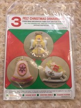 Felt Originals Christmas Felt Beaded Ornaments Kit Angel Bell Sleigh FS1... - $17.32