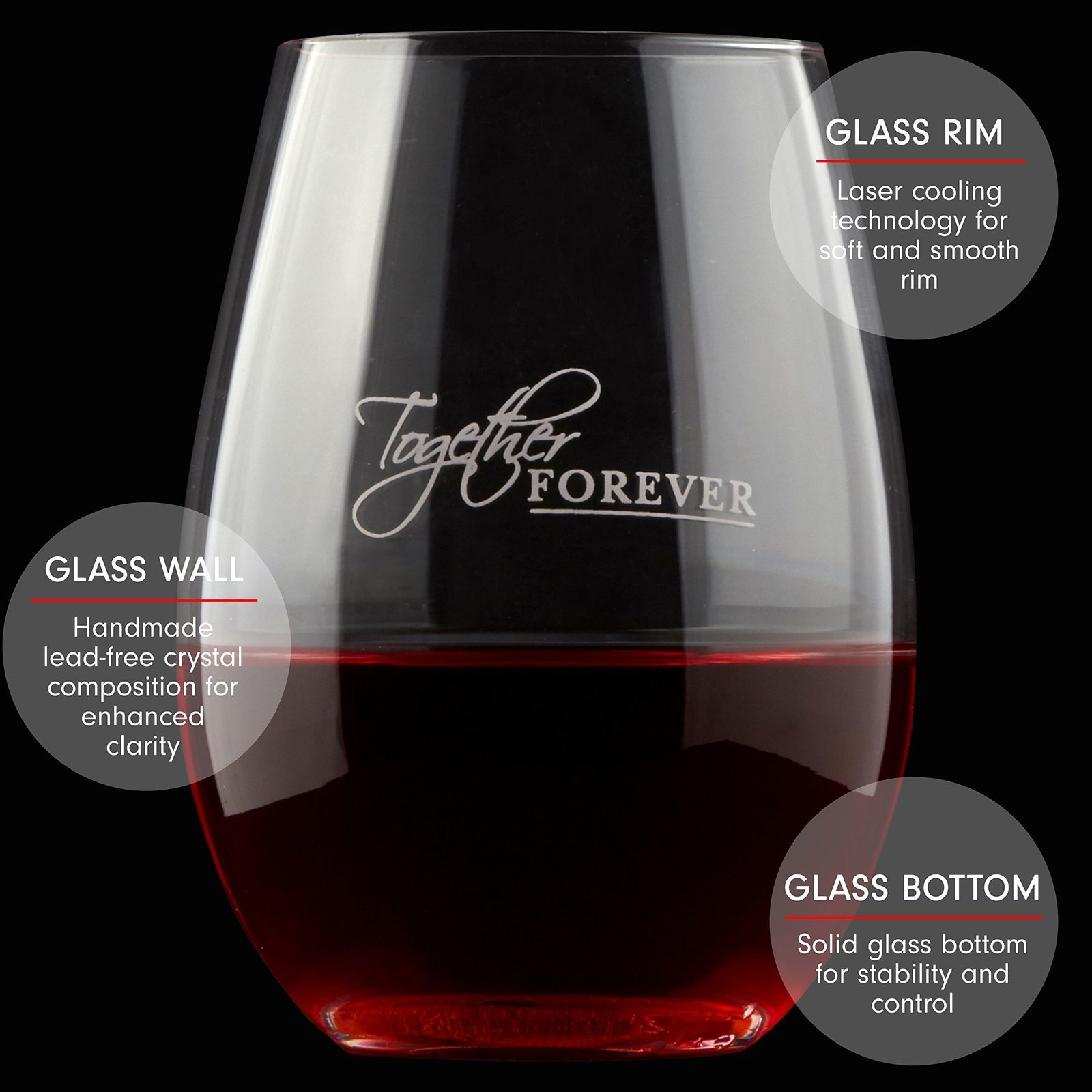 Precision Lead Free Hand Blown Crystal Stemless Wine Glass Set Couples Gift 22oz