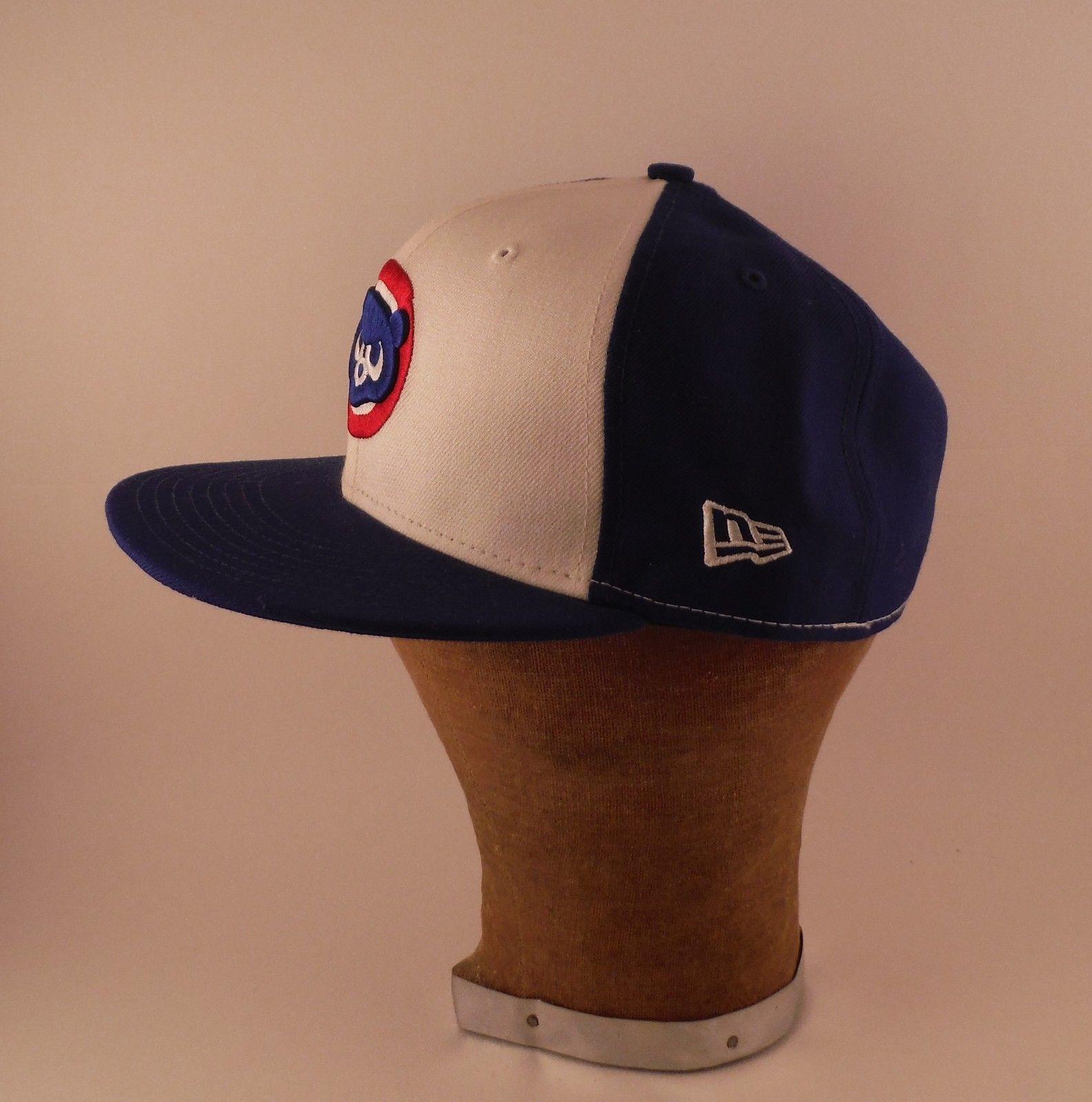 3baddfee92a Chicago Cubs Cub Logo 100% Wool New Era Baseball Hat Cap Mens Fitted 7 3