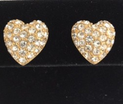 Swarovski Crystal Pave Puffed Heart Stud Earrings Gold Tone Swan Mark - $29.69