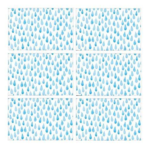 InterestPrint Watercolor Rain Drops Stylized Blue Raindrops Polyester Fabric Pla