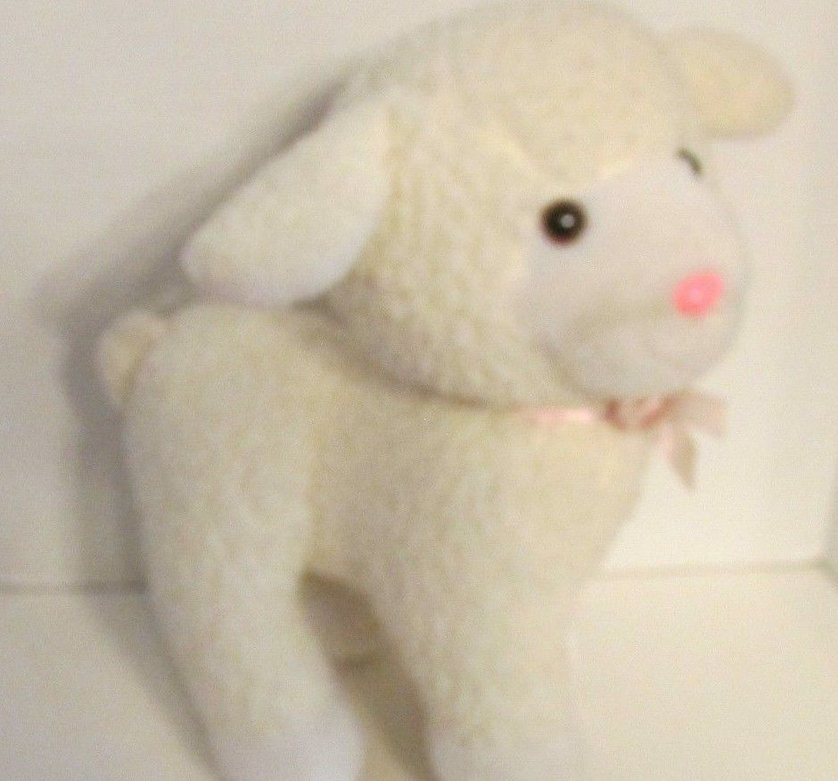 Enesco plush firm standing lamb sheep nubby fur pink bow older off-white cream image 9