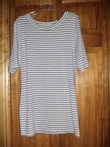 KERSH white/gray stripe S/S t-shirt sz XL junior - $5.89