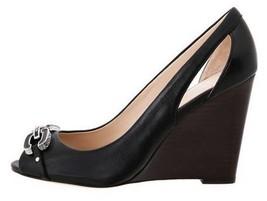 Women's Shoes Coach LARCHMONT A4867 Classic Wedge Peep Toe Pumps  Leather Black - $90.89