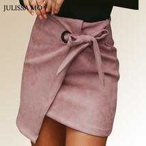 JULISSA MO Pink Asymmetrical Sash Suede Skirts Women High Waist Split Sexy Mini - $37.99