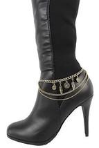 Moda Donna Stivali Cavigliera Bracciale Oro Antico Catena di Metallo - $30.32