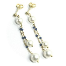 18K YELLOW GOLD PENDANT EARRINGS, DOUBLE WIRE FW PEARLS AND BLUE CUBIC ZIRCONIA image 1