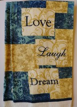 INSPIRATIONS KITCHEN SET 7-pc Towels Potholders Mitt Love Laugh Dream Blue Beige image 4