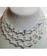 Vintage AB Aurora Borealis Crystal Bead Beaded 3 Strand Adjustable Necklace - $26.71