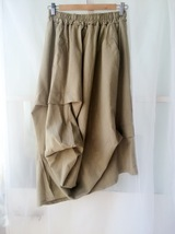 Khaki Linen Ankle Length Skirt Loose Elastic Waist Boho LINEN COTTON SKIRTS NWT image 4