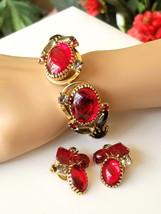 Vintage Red Rhinestone Clamper Bracelet and Earring Set, Vintage Jewelry... - $58.00