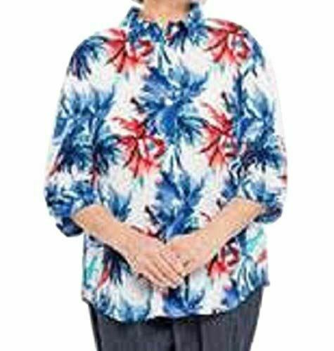 Primary image for Benefit Wear Womens Adaptive Shoulder-Wrap Blouse (M, Indigo & Red)