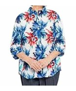 Benefit Wear Womens Adaptive Shoulder-Wrap Blouse (M, Indigo & Red) - $41.13