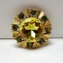 Avon Sun Brilliants Vintage Brooch Pin Citrine Yellow Green Rhinestone  - $13.30