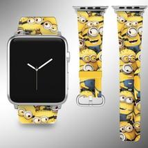 Minions Disney Apple Watch Band 38 40 42 44 mm Fabric Leather Strap 01 - $24.97