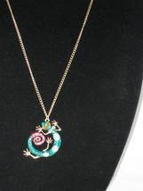 NEW Betsey Johnson Rhinestone Green Gecko pendant on Lo... - $24.50