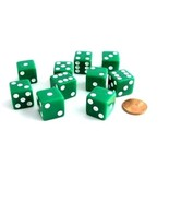 Set of 10 Six Sided D6 16mm Standard Square Edged Dice Die Green With Wh... - $5.99