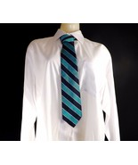 ALL SILK WOODWARD TWO TONED TURQUOISE BLUE & NAVY BLUE STRIPED MENS TIE ... - $14.99