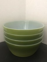 Lot Of 4 Vintage Anchor Hocking Fire King Two Tone Green Bowls - $24.05