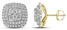 14k Yellow Gold Round Diamond Double Square Frame Cluster Earrings 1-1/2 Cttw - $1,709.00