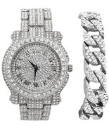 Hip Hop Iced Out Round Luxury Silver Mens Rapper's Bling Watch W/Bling-e... - $78.70