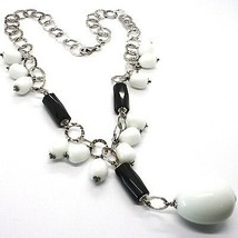 SILVER 925 NECKLACE, ONYX BLACK, AGATE WHITE DROP, CASCADE PENDANT - $247.46
