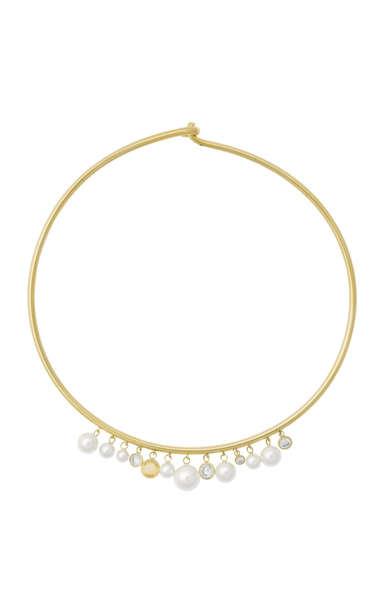 Primary image for NWT Michael Kors Simulated Pearl Collar Gold tone Necklace Choker Orig. $145
