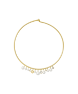 NWT Michael Kors Simulated Pearl Collar Gold tone Necklace Choker Orig. ... - $86.99