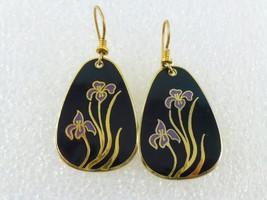 LAUREL BURCH Iris Flowers Black Purple Enamel Gold-Tone Drop Dangle EARR... - £19.18 GBP