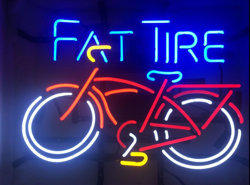 """Fat Tire Bicycle Bike Beer Room Man Cave Real Glass Neon Sign 24""""x20"""""""