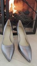 Nine west Platinum Metallic Pumps Leather Upper Heels Sz 7M $89 - $34.65