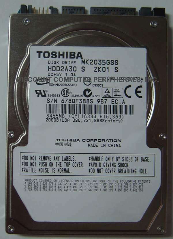 "New 200GB 2.5"" 9.5mm SATA Drive Toshiba MK2035GSS HDD2A30 Free USA Shipping"