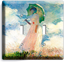 Claude Monet Woman With A Parasol Painting Triple Light Switch Plates Room Decor - $14.99