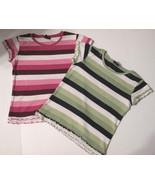 Wide Stripes Short Sleeve Crew Neck Tops Size L (10 - 12) Set of 2 - $4.46