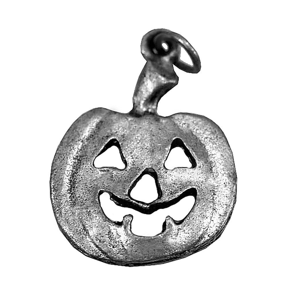 Real Sterling Silver 925 Halloween Pumpkin Face Jack-o'-lantern carving Sterling