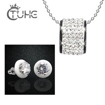 Luxury Necklace Set For Women Ceramic Jewelry Set Big Carat Zircon Stud ... - $28.22